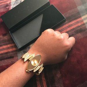 Jewelry - Gold watch with rhinestone jewelry